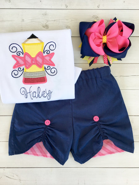 Pencils Down, Summer's Up (Pencil) Peek-a-boo Shortie Set