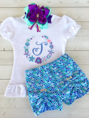 Mermaid Wishes - Ocean Frame Peek-a-boo Short Set