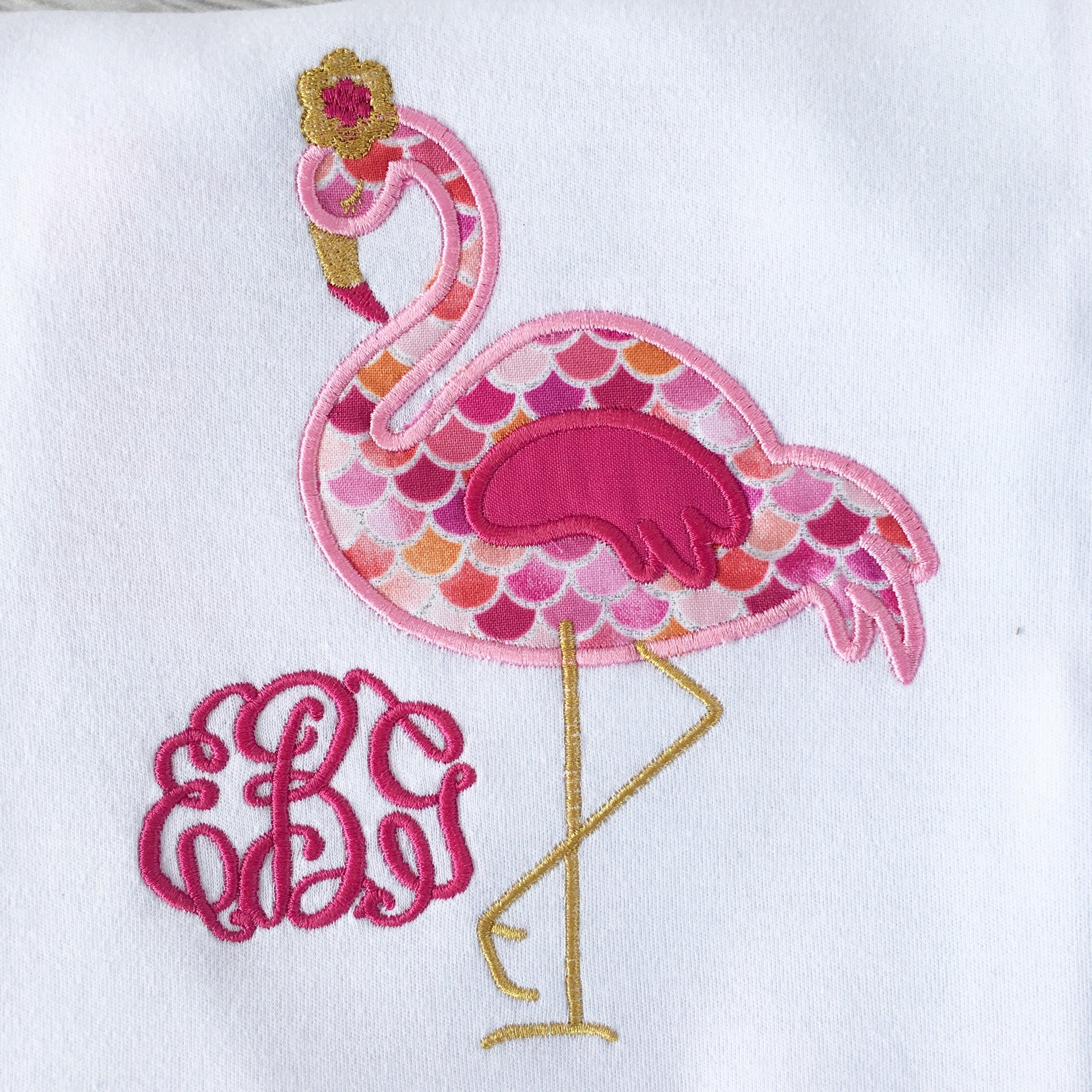 Pretty In Pink (Embroidered Flamingo) SHIRT ONLY