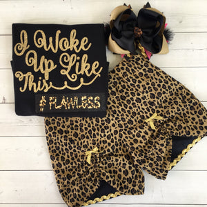 Woke Up Flawless Glitter Peek-a-boo Short Set