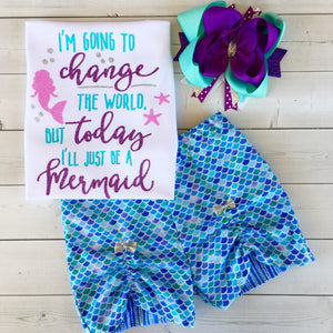 Mermaid Wishes - Glitter Change The World Peek-a-Boo Short Set
