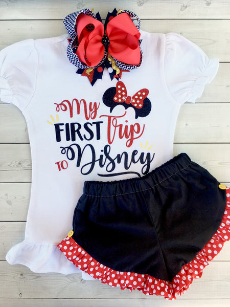 Wish Upon a Star - Glitter My First Trip Ruffle Shortie Set