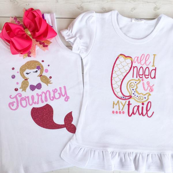 Mermaid Vibes Embroidered Peek-A-Boo Shortie Set