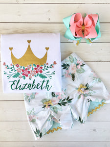 Gorgeous princess outfit for girls, toddlers and babies. Gold crown covered in glitter pink flowers customized with full name. Floral peek a boo shorts are perfection!