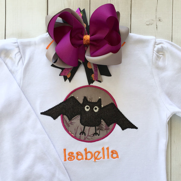 Embroidered Glitter Bat Girls Shirt ONLY