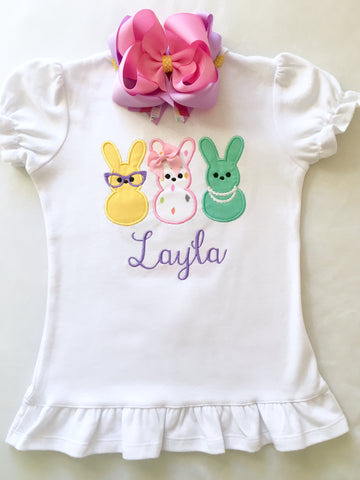 Girls easter outfit with shirt and easter bow. Shirt embroidered with three decorated bunnies inspired by Peeps!