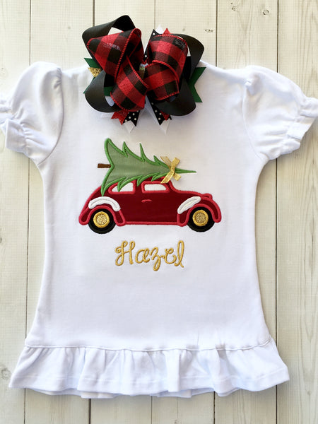 Vintage Christmas Car Embroidered SHIRT ONLY