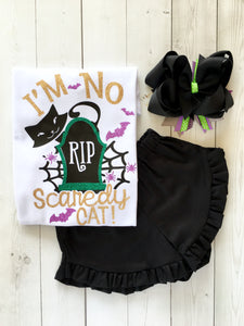 I'm No Scaredy Cat Glitter Ruffle Shortie (or Pants!) Set