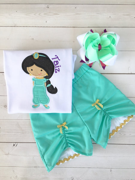 Princess Jasmine Inspired Embroidered Peek-A-Boo Short Set