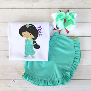 Princess Jasmine Inspired Embroidered Ruffle Short Set