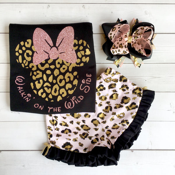 Lion King Inspired Girl's Cheetah Minnie Glitter Ruffled Short Set