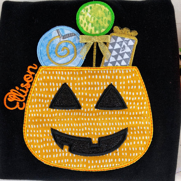 Halloween Pennants- Classic Candy Embroidered Double Ruffle Pant Set