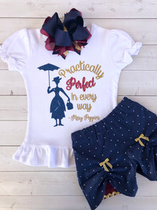 Miss Poppins Practically Perfect Glitter Peek-a-Boo Shortie Set