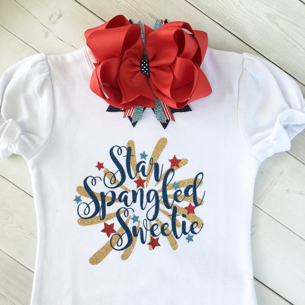 Freedom and Fireworks Star Spangled Sweetie Girl Glitter SHIRT ONLY