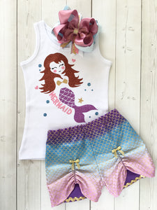 Majestic Mermaid Glitter Peek-A-Boo Shortie Set