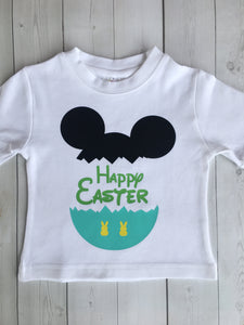 Boy's Happy Easter Cracked Mickey Egg Vinyl Shirt ONLY
