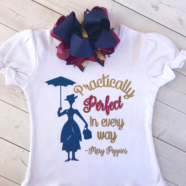 Miss Poppins Practically Perfect Glitter SHIRT ONLY
