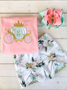 Gorgeous princess outfit for girls, toddlers and babies. Detailed princess carriage topped with a Gold crown, custom with first initial. Floral peek a boo shorts are perfection!