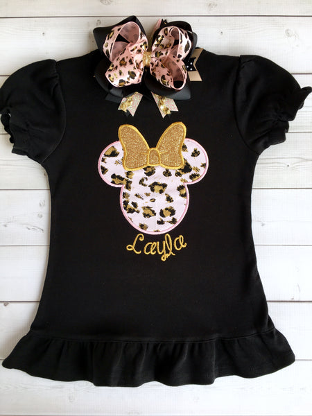 Walkin' On the Wild Side Girl's Cheetah Mouse Embroidered Ruffled Short Set