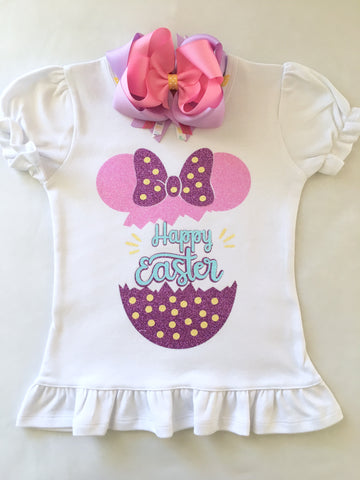 Happy Easter Glitter Minnie Cracked Egg Shirt ONLY