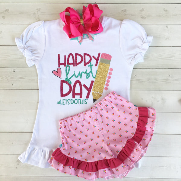 Smart & Sassy Glitter *First Day* Ruffle Short Set
