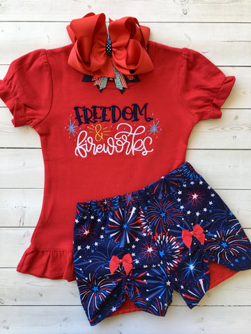 Freedom and Fireworks Embroidered Girl Peek-A-Boo Short Set