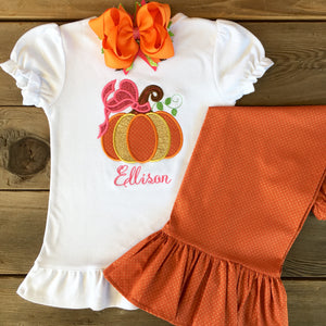 Autumn is Calling Embroidered Pumpkin Ruffled Pant Set