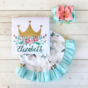 Her Majesty's Glitter Floral Crown *Floral Print* Ruffle Shortie Set