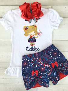Freedom and Fireworks Embroidered Sparkler Girl Peek-A-Boo Short Set