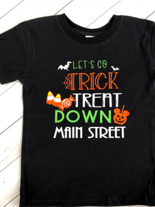 "Trick or Treat Down Main Street  Boys Shirt ""ONLY"""