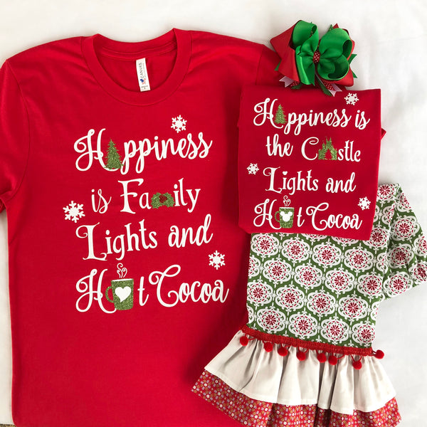 "Christmas Memories ""Happiness is"" Glitter SHIRT ONLY (Girls)"