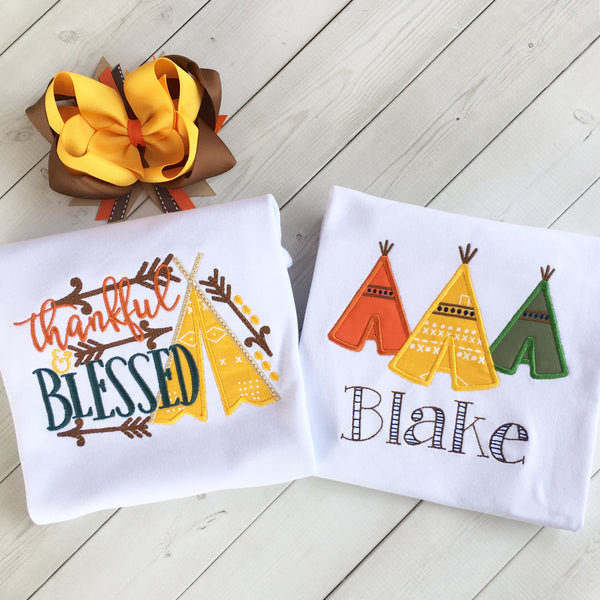 Girls Embroidered Teepee Shirt ONLY