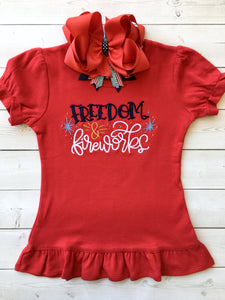 Freedom and Fireworks Embroidered Girl SHIRT ONLY