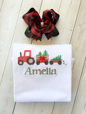 Christmas Tree Farm Girls Embroidered Shirt ONLY