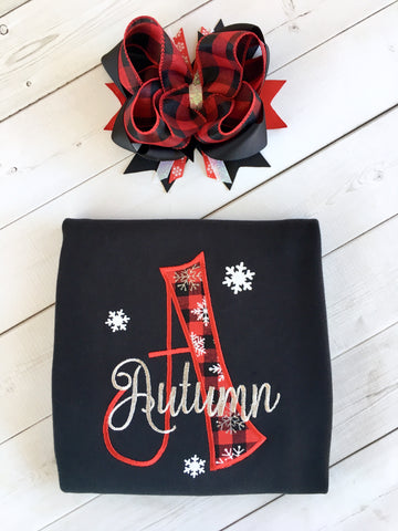 Embroidered Name & Snowflakes Shirt Only