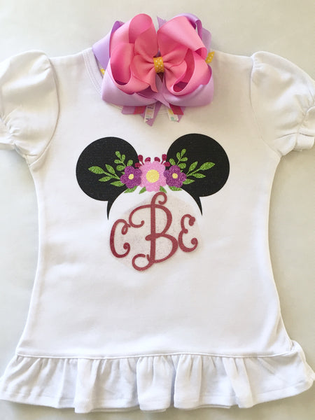 Spring Glitter Minnie Ears Shirt ONLY