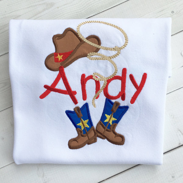 Toy Story Inspired Embroidered Woody Hat and Lasso Boy's SHIRT ONLY