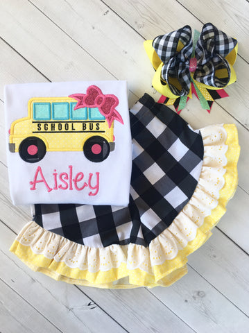 Little Miss Back To School Embroidered Bus Ruffle Short Set