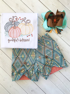 Grateful Embroidered Pumpkins Peek-a-boo Shortie Set