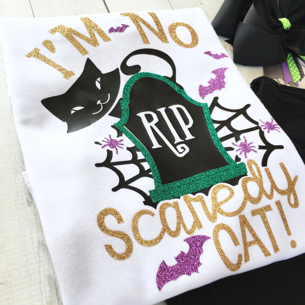 "I'm No Scaredy Cat Glitter Shirt ""ONLY"""
