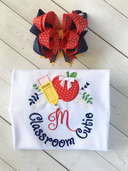 Classroom Sweetie Embroidered Frame SHIRT ONLY