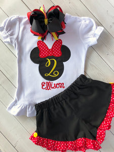 Minnie Mouse Birthday Celebration Embroidered Outfit