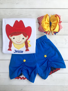 Toy Story Inspired Embroidered Jessie Peek-A-Boo Short Set