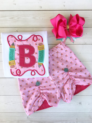 Smart & Sassy Embroidered Pencil Frame Peek-A-Boo Short Set