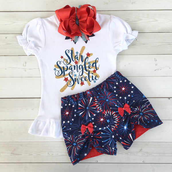 Freedom and Fireworks Star Spangled Sweetie Girl Glitter Peek-A-Boo Short Set
