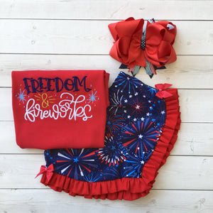 Freedom and Fireworks Embroidered Girl Ruffle Short Set