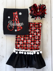 Embroidered Name & Snowflakes/Red Buffalo Plaid Pant Set