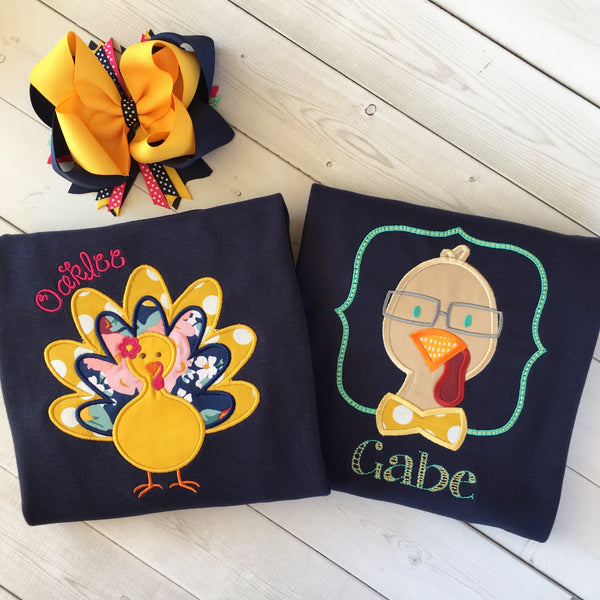 Thankful Embroidered Boy Turkey Shirt ONLY