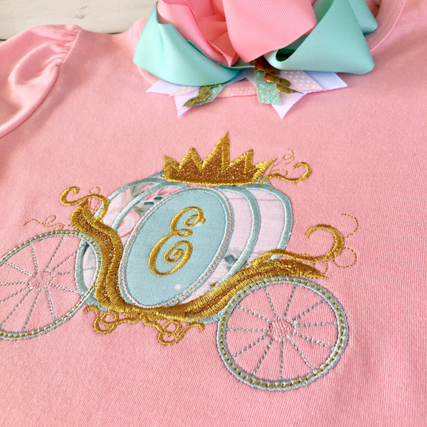 Gorgeous princess shirt for girls, toddlers and babies. Cinderella -inspired carriage topped with glitter crown, custom with first initial in the center.