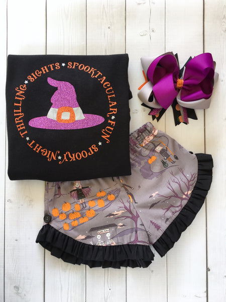 Glitter Witch Hat and Friends Ruffle Short Set